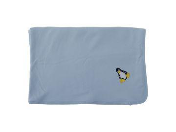 Dětská deka letní 90x90 cm modrá s tučňákem